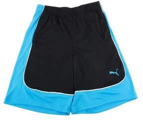 Puma Boy's Black/Blue Color Block Athletic Gym Shorts