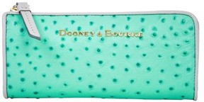 Dooney & Bourke Ostrich Zip Clutch Wallet - MINT LIGHT GREY - STYLE