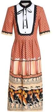 Temperley London Foxglove Printed Cotton-Blend Faille Midi Dress
