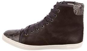 Lanvin Snakeskin-Trimmed High-Top Sneakers
