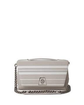 Akris Anouk Striped Leather Day Bag, Off White