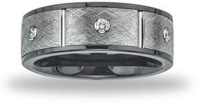 Ice Mens Ceramic and Tungsten 8mm 1/5ct TDW Diamond Band (H-I, I2-I3)