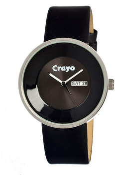 Crayo Unisex Button Black Leather-Band Watch With Day&Date Cracr0207