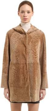 Drome Reversible Hooded Shearling Coat