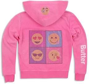 Butter Shoes Girls' Embellished Emoji Hoodie - Little Kid