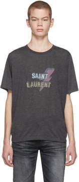 Saint Laurent Grey Lightning Bolt Logo T-Shirt