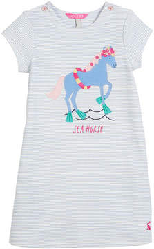 Joules Striped Sea Horse Short-Sleeve Dress, Size 3-6