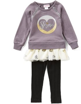 Flapdoodles Little Girls Sequin Popover Dress & Solid Leggings Set