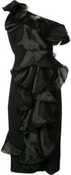 Christian Siriano fitted ruffle dress
