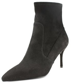 Material Girl Carena Women Pointed Toe Canvas Black Bootie.
