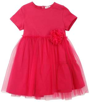 Il Gufo Cotton Jersey & Stretch Tulle Dress
