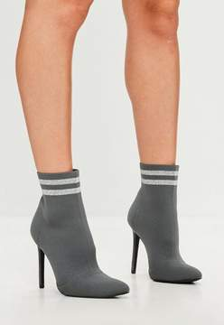 Missguided Carli Bybel x Gray Knit Stripe Pointed Ankle Boots
