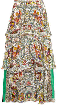 Etro Tiered Printed Silk-jacquard Maxi Skirt - White
