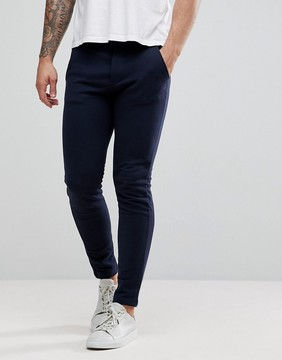 Benetton Slim Fit Joggers With Open Cuff In Navy