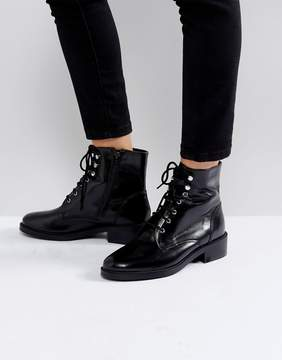 Carvela Skewer Black Lace Up Military Boots