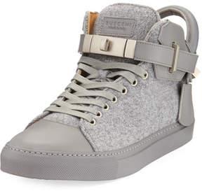 Buscemi Men's 100mm Wool Mid-Top Sneakers, Medium Gray