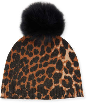 Neiman Marcus Cashmere Animal-Print Beanie with Fox Fur Pompom