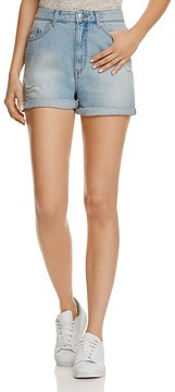 Cheap Monday Donna Distressed Denim Shorts in Fans