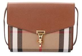 Burberry Macken Small Leather & House Check Crossbody. - BROWN - STYLE