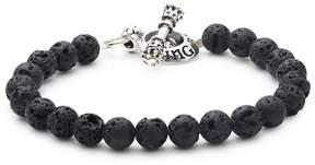 King Baby Studio Men's Beaded Sterling Silver Toggle Bracelet