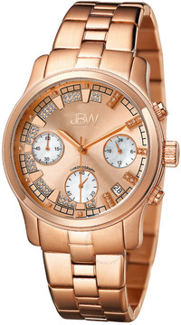 JBW Alessandra Rose Gold-tone Diamond Chronograph Dial Rose Gold-tone Steel Bracelet Ladies Watch