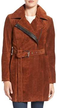 Andrew Marc Sienna Genuine Suede Belted Trench Coat