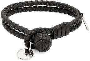 Bottega Veneta Intrecciato-woven knot leather bracelet