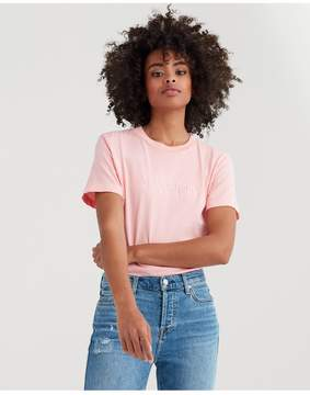 7 For All Mankind | Mankind Baby Tee With Pink Embroidery Print In Quartz Pink | Xl