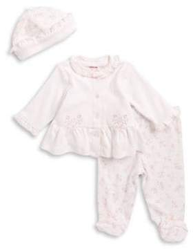 Little Me Baby Girl's Floral Print Top, Pants and Hat Set