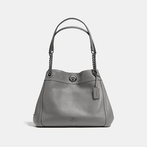 COACH Coach Turnlock Edie Shoulder Bag - DARK GUNMETAL/HEATHER GREY - STYLE