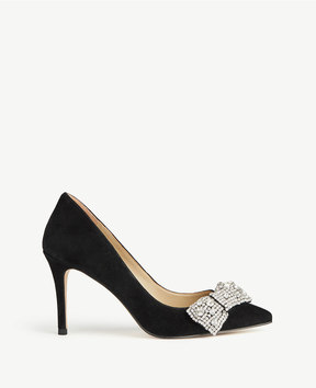 Ann Taylor Wynn Jeweled Bow Suede Pumps