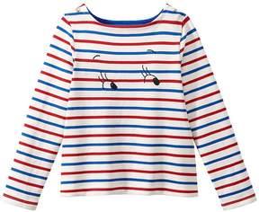 Petit Bateau Girl's sailor top in heavyweight jersey