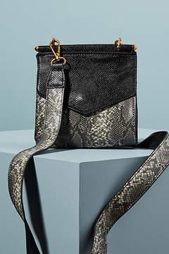 Anthropologie Snake-Printed Structured Crossbody Bag