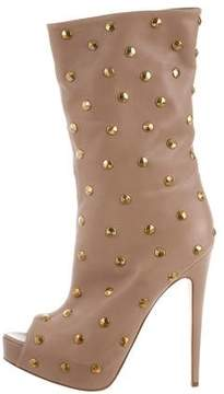 Brian Atwood Studded Peep-Toe Boots