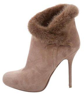 Christian Dior Suede Mink Fur-Trimmed Booties
