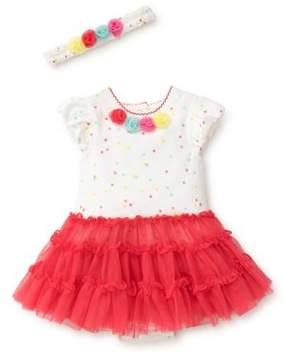 Little Me Baby Girl's Two-Piece Pom-Pom Bodysuit and Headband Set