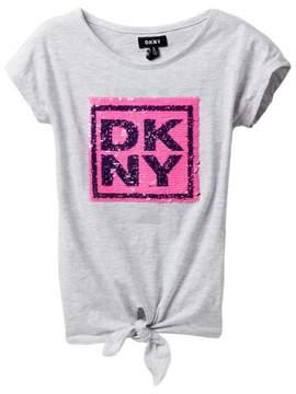 DKNY Stack Tie Front Top (Big Girls)