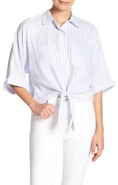 Cupcakes And Cashmere Saundra Striped Tie Front Button Down Top
