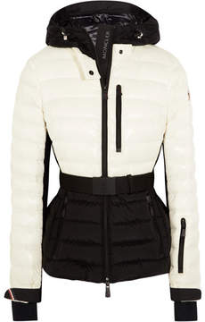 Moncler Bruche Belted Two-tone Quilted Ski Jacket - Ivory