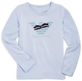 Armani Junior Girls' Bow Logo Long-Sleeve Tee - Little Kid, Big Kid