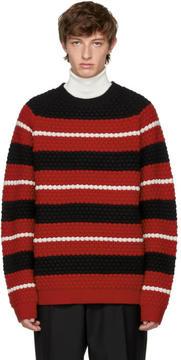 Ports 1961 SSENSE Exclusive Black Striped Crewneck Sweater