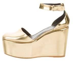 Celine Metallic Leather Platform Wedges