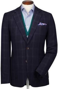 Charles Tyrwhitt Slim Fit Navy and Blue Checkered Wool Flannel Wool Blazer Size 36