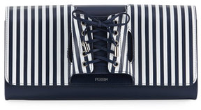 Perrin Paris Le Corset Striped Leather Clutch Bag