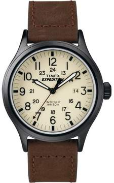 Timex Mens Expedition Brown Leather Strap Sport Watch