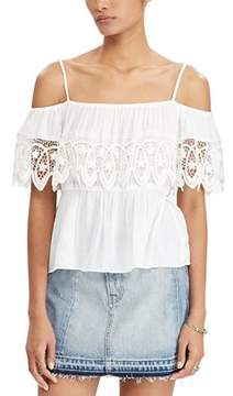 Denim & Supply Ralph Lauren Off The Shoulder Gauze Top.