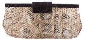 Nancy Gonzalez Crocodile-Trimmed Snakeskin Clutch