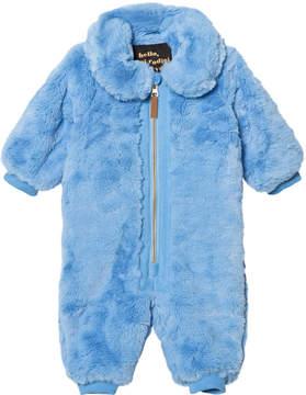 Mini Rodini Blue Faux Fur Baby Jumpsuit