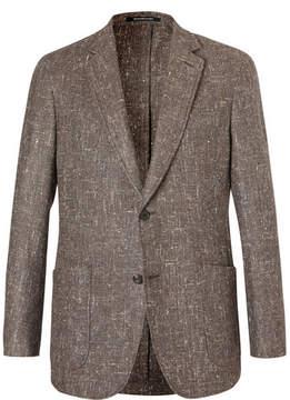 Richard James Brown Slim-Fit Slub Silk, Wool And Cashmere-Blend Blazer