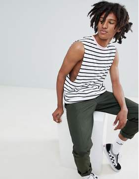 Asos DESIGN stripe sleeveless t-shirt with dropped armhole in white with pink contrast neck